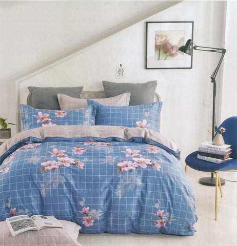 Petal Soft Comfort XL 100% Cotton Steel Blue Botanic 6 Piece Bedding Set