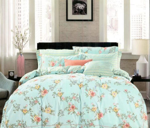 Petal Soft Orchid Double 100% Cotton Powder Blue Botanic Duvet Cover