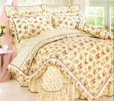 Petal Soft Orchid Double 100% Cotton Off White Floral Duvet Cover