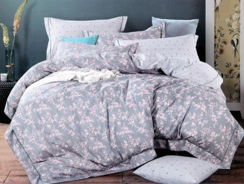 Petal Soft Orchid Double 100% Cotton Lunar Grey Floral Duvet Cover