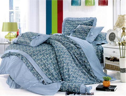 Petal Soft Orchid Double 100% Cotton Yale Blue Floral Duvet Cover