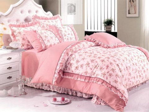 Petal Soft Orchid Double 100% Cotton Pink Rose Floral Duvet Cover