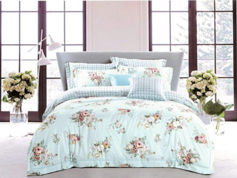 Petal Soft Orchid Double 100% Cotton Aqua Blue Botanic Duvet Cover