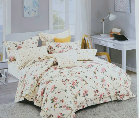 Petal Soft Orchid Double 100% Cotton Off White Botanic Duvet Cover