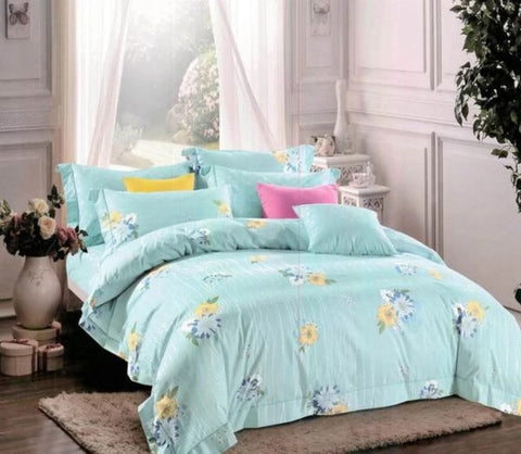 Petal Soft Orchid Single 100% Cotton Powder Blue Floral Duvet Cover