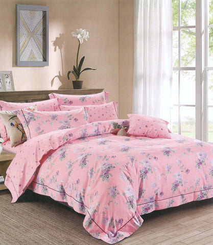 Petal Soft Orchid 100% Cotton Watermelon Pink Floral 3 Piece Bed Sheet Set