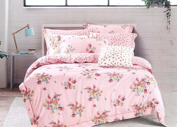 Petal Soft Orchid 100% Cotton Salmon Pink Floral 3 Piece Bed Sheet Set