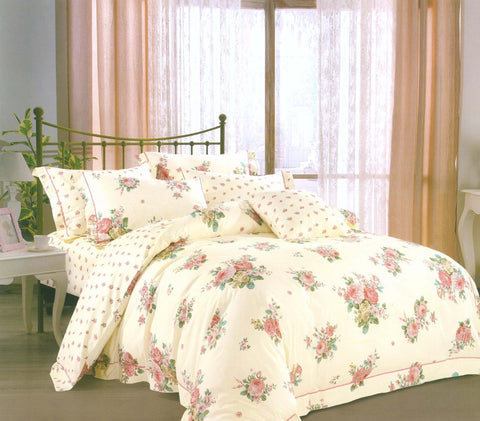 Petal Soft Orchid 100% Cotton Off White Floral 3 Piece Bed Sheet Set