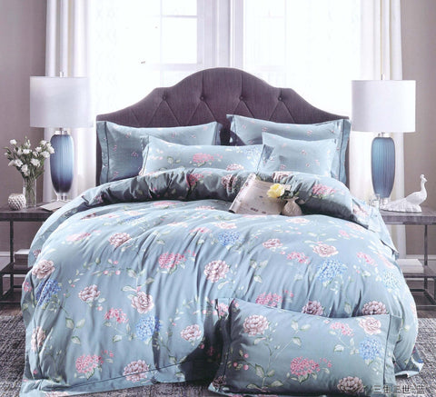 Petal Soft Orchid 100% Cotton Air Force Blue Floral 3 Piece Bed Sheet Set