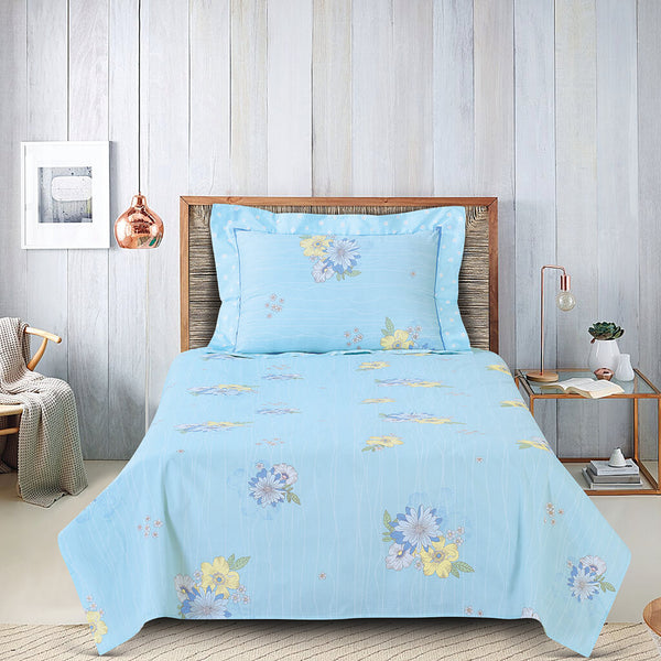Petal Soft Orchid Single 100% Cotton Powder Blue Floral 2 Piece Bed Sheet Set