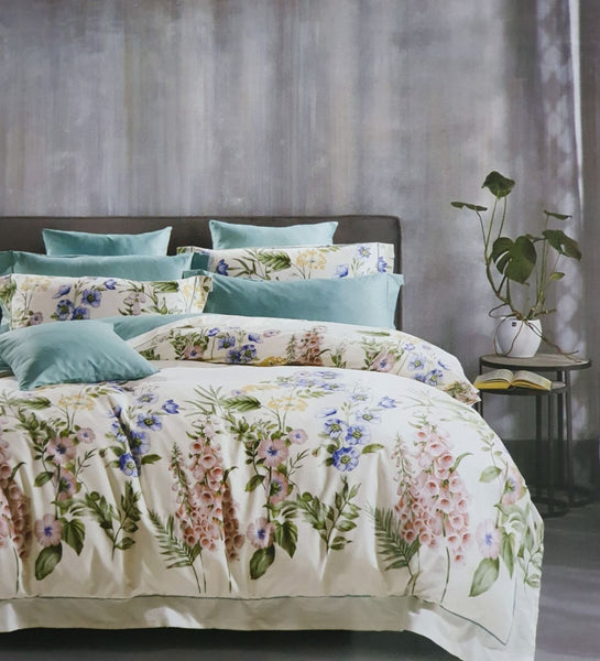 Petal Soft Passion 100% Cotton Off White Botanic Bedding Set