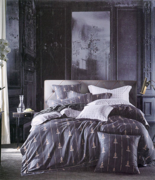 Petal Soft Passion 100% Cotton Deep Grey Abstract Bedding Set