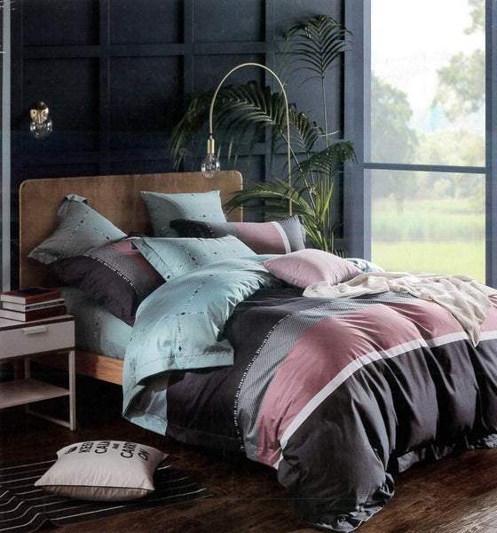 Petal Soft Passion 100% Cotton Grey & Pink Geometrical Bedding Set