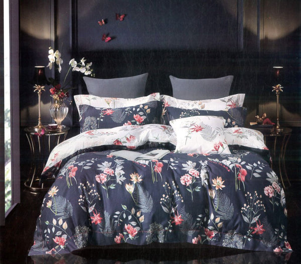 Petal Soft Passion 100% Cotton Deep Blue Botanic Bedding Set