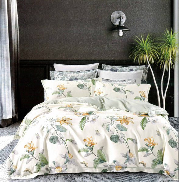 Petal Soft Passion 100% Cotton Ivory White Botanic Bedding Set