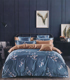 Petal Soft Yale Blue Leaves 100% Cotton Passion Bedding Set 6 Piece Set