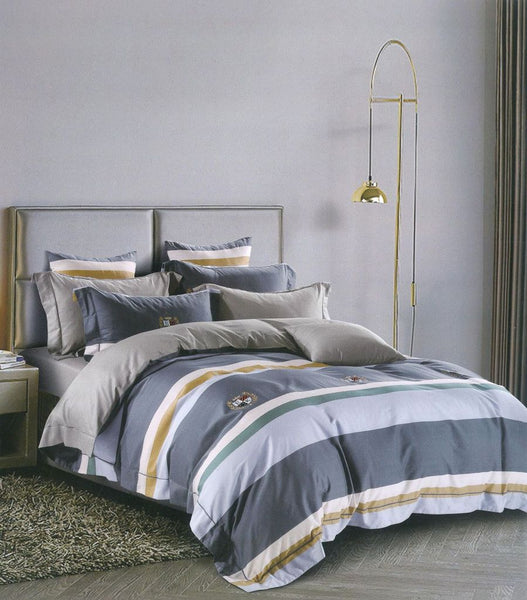 Petal Soft Passion 100% Cotton Grey & Blue Stripes 9 Piece Duvet Set with Microfibre Quilt