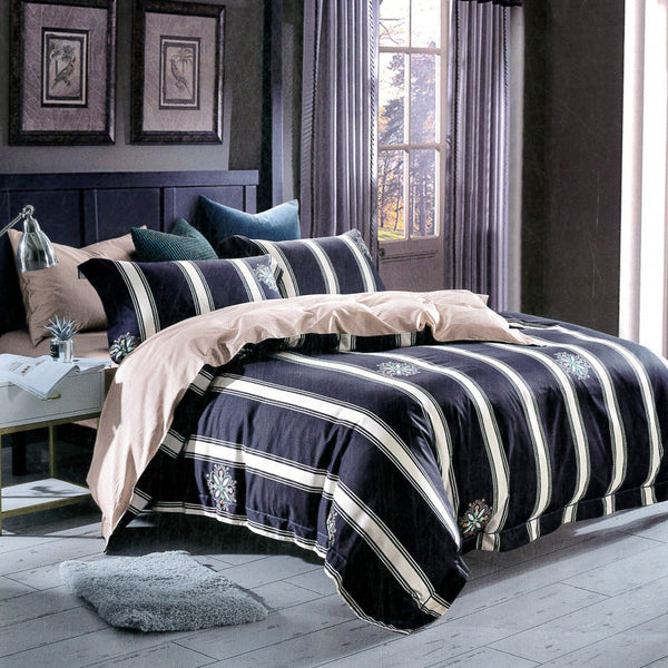 Petal Soft Passion 100% Cotton Navy Blue Stripes 6 Piece Bedding Set