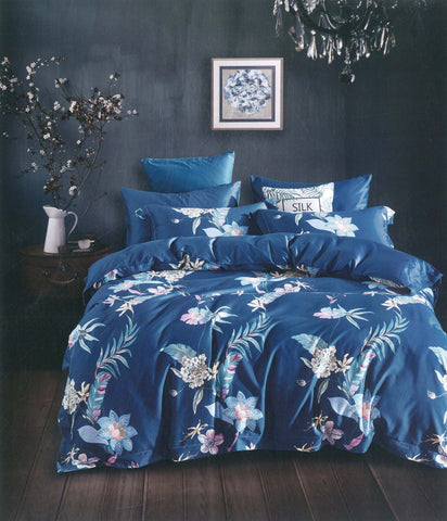 Petal Soft Passion 100% Cotton Saphire Blue Botanic 3 Piece Bed Sheet Set