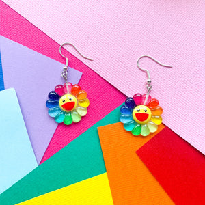 Rainbow Sunflower Earrings