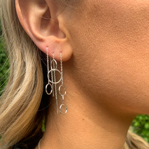 Circle Sterling Silver Threader Earrings