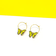 Load image into Gallery viewer, Butterfly Hoop Earrings