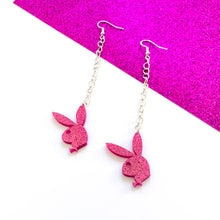 Load image into Gallery viewer, Pretty In Pink Playboy Chain Earrings