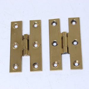 "8x Solid Drawn Brass H Hinges - 2 1/2"" x 1 3/8"" - OldTools.co.uk"