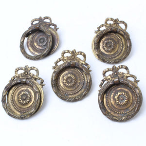 5x Decorative Old Brass Ring Handles