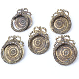 5x Decorative Old Brass Ring Handles - OldTools.co.uk
