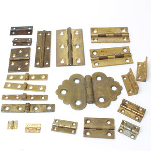 Collection Of 20x Old Brass Hinges