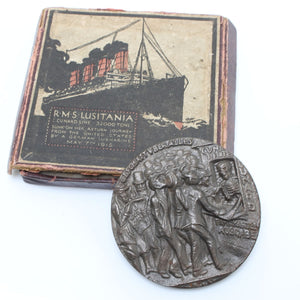RMS Lusitania Medallion - Boxed - OldTools.co.uk