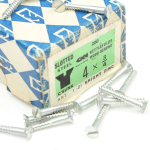 20 Nettlefolds CSK Bright Zinc Screws – 3/4 x 4 - OldTools.co.uk