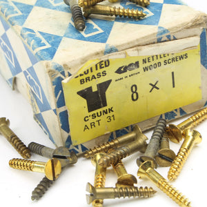 "38 x Nettlefolds C'Sunk Brass Screws – 1"" x 8 - OldTools.co.uk"