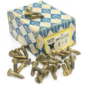 "25 x Nettlefolds C'Sunk Brass Screws – 3/4"" x 8 - OldTools.co.uk"