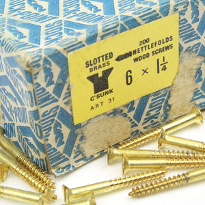 "25 x Nettlefolds C'Sunk Brass Screws – 1 1/4"" x 6 - OldTools.co.uk"