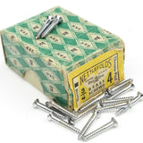 "22 x Nettlefolds Barrel Chrome Brass Screws – 3/4"" x 4 - OldTools.co.uk"