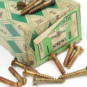 "25x Nettlefolds Light Bronzed Screws – 1"" x 8 - OldTools.co.uk"