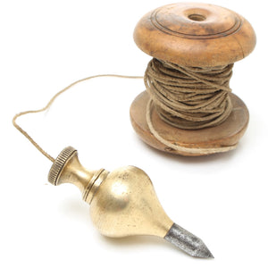 Brass Plumb Bob and Vintage Boxwood Spool