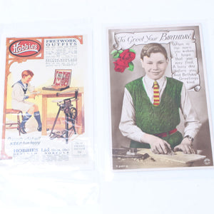 2x Child Woodworking Postcards - OldTools.co.uk