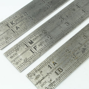 "3x 24"" Chesterman Contraction Rules - No. 1956D, 1961D, 1962D - OldTools.co.uk"