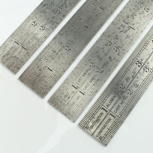 "4x 24"" John Rabone Contraction Rules - No. 123, 129, 135, 143 - OldTools.co.uk"