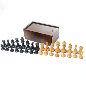 Boxwood and Ebonised Staunton Chess Set