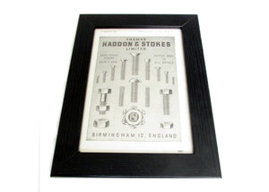1950's Framed Ironmongery Picture - Size: A5 - OldTools.co.uk