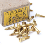 20 x Nettlefold Brass Flat Screws 5/8 x6's - OldTools.co.uk