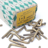 10 x Nettlefolds 1 x 5 Plain Square Brass Hooks - OldTools.co.uk