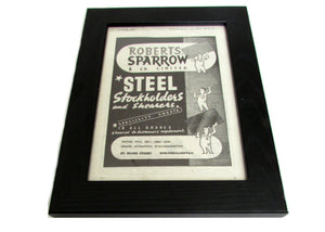 1950's Framed Sparrow Steel  Picture - Size: A5 - OldTools.co.uk
