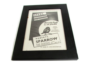 1950's Framed Sparrow Steel & Co Picture - Size: A5 - OldTools.co.uk