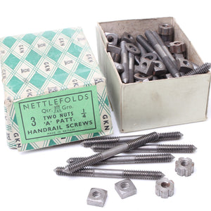"Nettlefolds Handrail Screws – 1/4"" x 3 - Two Nuts"