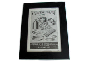 1950's Framed Cambridge Tinware Picture - Size: A5 - OldTools.co.uk